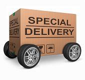 Постер, плакат: Специальный доставки важных пакета отгрузки Специальный пакет отправки экспресс доставки картон Вставка i