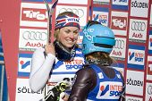 SOELDEN, AUSTRIA -OCT 25: Chemmy Alcott and Julia Mancuso after the womens giant slalom race at the Rettenbach Glacier Soelden Austria, the opening race of the 2008/09 Audi FIS Alpine Ski World Cup in Soelden, Austria on Oct. 25, 2008.