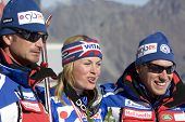 SOELDEN, AUSTRIA -OCT 25: Chemmy Alcott GBR and  2 coaches after the womens giant slalom race at the Rettenbach Glacier Soelden Austria, the opening race of the 2008/09 Audi FIS Alpine Ski World Cup in Soelden, Austria on Oct. 25, 2008.