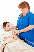 Nurse Administers Fluids