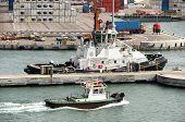Haifa, Israel - May 19 Patrol boats in the industrial area Of the port city of Haifa, Israel, 2013