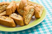 the cantuccini cookies on checkered tablecloth