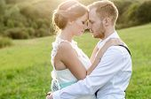 stock photo of wedding  - Happy couple on wedding day - JPG