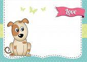 Animal greeting card with cute cartoon dog