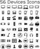 image of fill  - Vector icons set covering electronic devices: computers, tablets, laptops, accessories. 