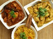 stock photo of curry chicken  - Bird eye view of indian food curry chicken rice - JPG