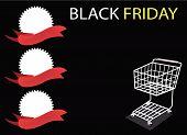 Einen Warenkorb und Banner auf schwarzen Freitag-Hintergrund