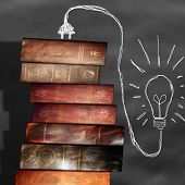 foto of teachers  - Old books on the table teachers - JPG