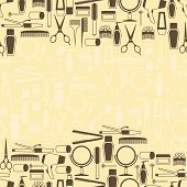 stock photo of hair curlers  - Hairdressing tools seamless pattern in retro style - JPG