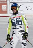 VAL D'ISERE FRANCE. 11-12-2010. NEUREUTHER Felix (GER)   reacts in the finish area after the FIS alp