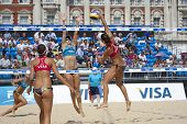 10/08/2011 LONDON, ENGLAND, Heather Bansley & Elizabeth Maloney (CAN) vs Alejandra Simon & Andrea Garc�?�?�?�­a Gonzalo (ESP) during the Beach Volleyball, at Horse Guards Parade, Westminster, London.