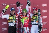 VAL D'ISERE FRANCE. 12-12-2010. Benny Raich (AUT) 2nd Marcel Hirscher (AUT) winner and Steve Missill