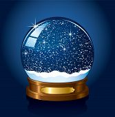 foto of yule  - Christmas Snow globe with the falling snow - JPG