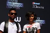 LOS ANGELES - AUG 1:  Miguel, Nazanin Mandi arrives at the 2013 Young Hollywood Awards at the Broad