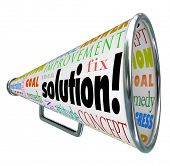 The word Solution on a product box to megaphone or bullhorn to spread an idea or innovation to solve your problem or challenge