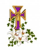 image of christian cross  - Image and 3D illustration composition of Christian cross Madonna Lilies ivy for Easter background with copy space - JPG