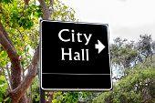 Arrowed City Hall Sign