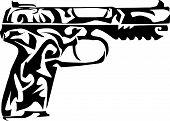 Print	Vector illustration of a antique gun on white background