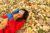 Sad Depressed Woman Crying On Autumn