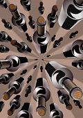 Wine bottles in an overhead converging pattern