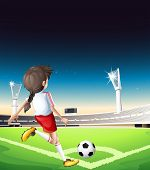 Illustration of a female football player at the field