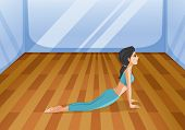 Illustration of a girl doing yoga