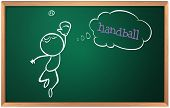 Illustration of a blackboard with a drawing of a boy playing handball on a white background