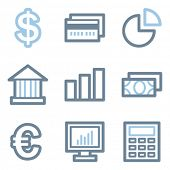 Finance icons, blue line contour series