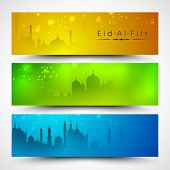 Website header or banner set for Muslim community festival Eid Mubarak.
