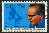 CUBA - CIRCA 1974: A stamp printed in Cuba shows image of the pianist Cesar Perez Sentenat (1896-1973), circa 1974.