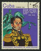 CUBA - CIRCA 1983: A stamp printed in Cuba shows image of the Simon Bolivar, was a Venezuelan milita