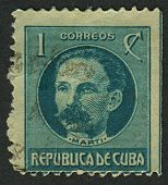 CUBA - CIRCA 1917: A stamp printed in Cuba shows image of the Jose Julian Marti Perez is the Cuban national hero and an important figure in Latin American literature, circa 1917.