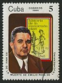 CUBA - CIRCA 1984: A stamp printed in Cuba shows image of the Leuchsenring Emilio Roig was a Cuban patriot historian, the first historian of the city of Havana, circa 1984.