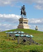stock photo of artillery  - A monument to Major General Winfield Scott Hancock at Gettysburg National Military Park - JPG