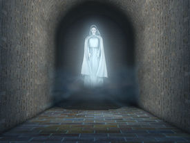 picture of banshee  - Ghost of a woman appearing in a stone tunnel - JPG