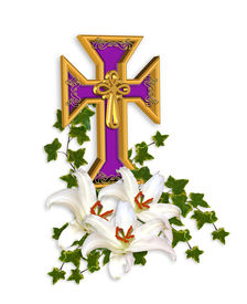 stock photo of christian cross  - Image and 3D illustration composition of Christian cross Madonna Lilies ivy for Easter background with copy space - JPG