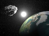 stock photo of meteorite  - One asteroid into universe near earth planet - JPG