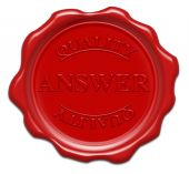 Answer Quality - Illustration Red Wax Seal Isolated On White Background With Word : Answer