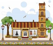 Little Cute Retro House And Store, Shop Or Boutique