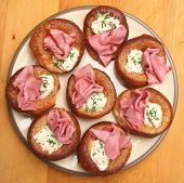 Yorkshire Puddings with Beef Pastrami & Horseradish
