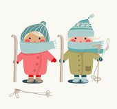 image of ski boots  - Winter skiing outfit childish illustration - JPG