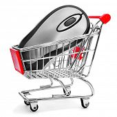 a computing mouse in a shopping cart on a white background, depicting the online shopping concept