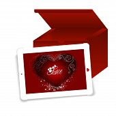 picture of gizmo  - Business tablet with a Valentine Day message - JPG