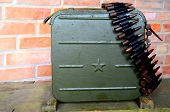 KIEV, UKRAINE -NOV 3: Vintage Soviet ammo box  during historical military reenactment, festival and