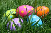 Five Multicoloured Easter Eggs