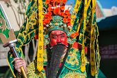 A Man Dressed As The Chinese God Of Prosperity In The 115Th Annual Golden Dragon Parade, Lunar New Y