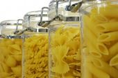 Various Shapes Of Pasta In Jars