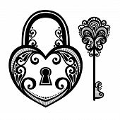 image of skeleton key  - Vector Vintage Lock with a Key - JPG