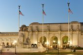 stock photo of amtrak  - Union Station at night in Washington DC - JPG
