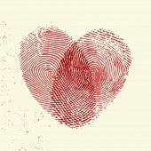 Valentine background (red fingerprint on light background)